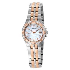 Bulova Women's 98R133 Mother of Pearl Dial 24 Diamonds Case Bracelet Watch