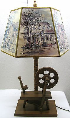 Rare Stunning Old Vintage Spinning Wheel Table Desk Lamp + Shade Top Mid Century