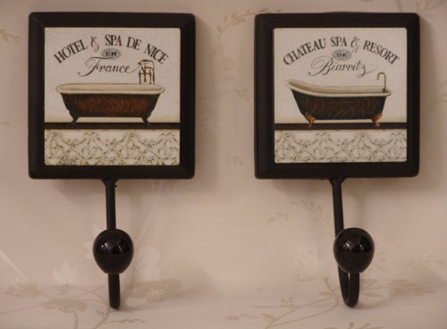 Set of Two Bathroom hooks in a Vintage Style with Roll Top Bath Detail, and France and Biarritz