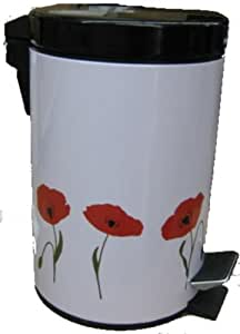 Home Decor 3L Step On Trash Bin decorated with Poppies