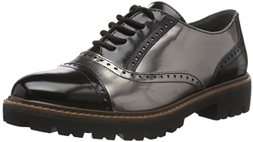 Marco Tozzi 23718, Scarpe Oxford Donna, Nero (Black/Pewter 099), 37 EU