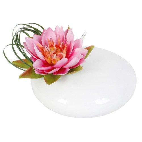 Composizione di fiori artificiale con vaso in ceramica a forma di fior di loto, colore: rosa