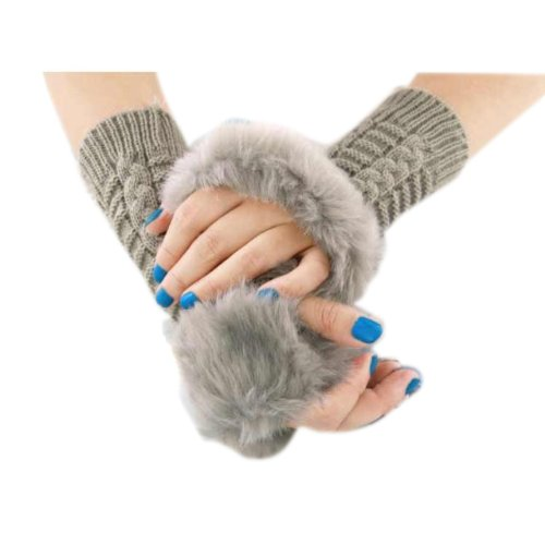 NSSTAR Winter Soft and Warm Knitting Long Sleeve Arm Warmer Fingerless Faux Fur Hand Gloves with Thumb Slot Hole Christmas Gift with 1PCS Free Cup Mat Color Ramdon (Grey)