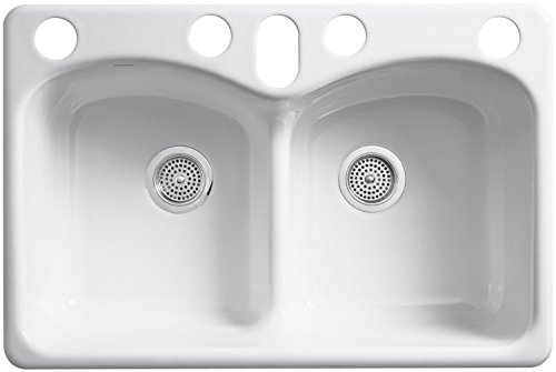 KOHLER K-6626-6U-0 Langlade Smart Divide Undercounter Kitchen Sink, White (Cast Iron Sinks Kitchen compare prices)
