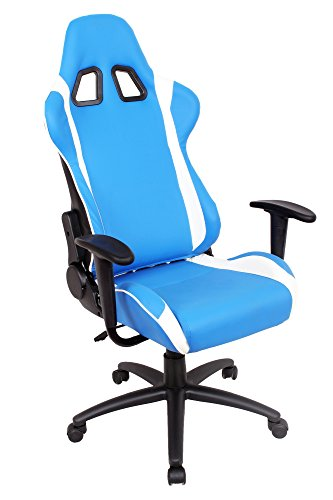 EZ Lounge Racing Car Seat Modern Office Chair, Blue/White