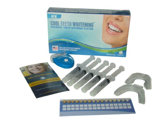 Retail Box Professional Teeth Whitening Kit 44% Carbamide Peroxide With 5 Pcs. 5Cc Syringes Made In Usa Gel, 2 Pcs. Thermoform Trays + Bonus White Led Light + Free Shade Guide + Instructions