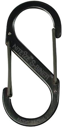 Nite Ize SB1-2PK-01 Size-1 S-Biner, Black, 2-Pack