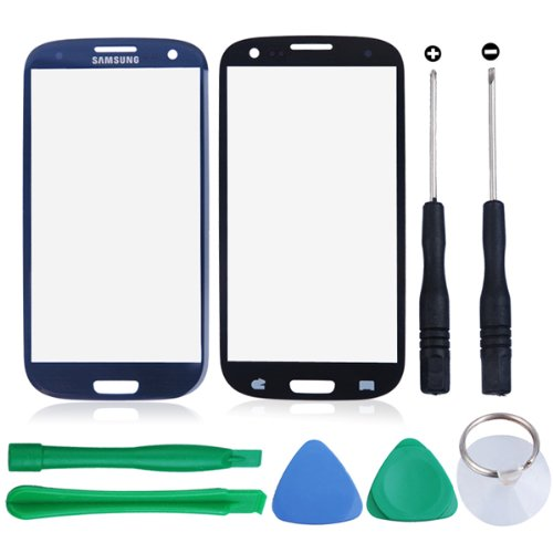 Outer Screen Panel Glass Lens Replacement With Tools Kit Compatible For Samsung Galaxy S3 Siii I9300 (Dark Blue)