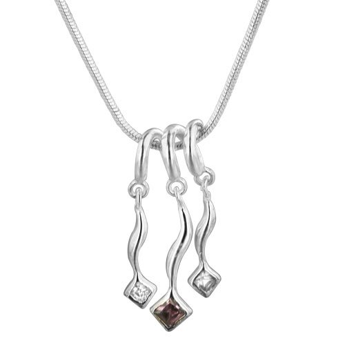 Pugster 925 Sterling Silver Three Flow Crystal Pendant Necklace