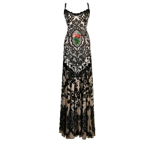 Michal Negrin Floor Length Spaghetti Straps Square Neckline White and Black Dress Outfitted with Pleated Skirt, Swarovski Crystals Accented Floral Pattern, Black Merrow Edge Finish and Lace Trim - Size XL