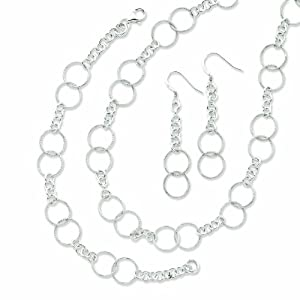 Sterling Silver Necklace Bracelet and Earring Set