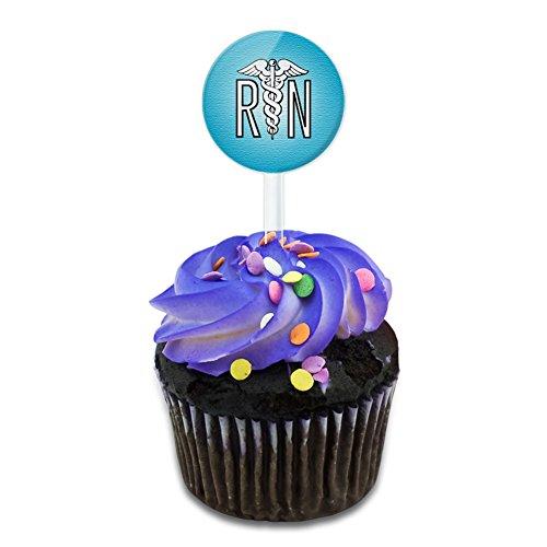 RN Nurse Caduceus Symbol Cake Cupcake Toppers Picks Set (Nurse Party Decorations)