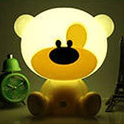 Creative Cartoon Bear Nightlight Desk Table Lamp Night LED Touch Dimmable for Baby Adults Bedroom Christmas Birthday Gift (yellow)