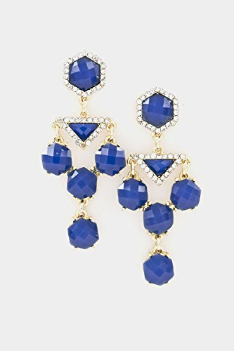Trendy Fashion Jewelry Faceted Stone Linked Triangle Crystal Accent Dangle Earring By Fashion Destination | (Royal Blue)