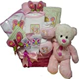 Art of Appreciation Gift Baskets My Little FlutterbyBaby Girl Gift Basket with Teddy Bear