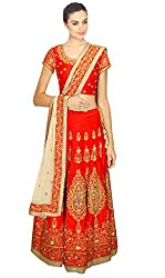 Red Heavy Embroidered Lahenga Choli By Kmozi