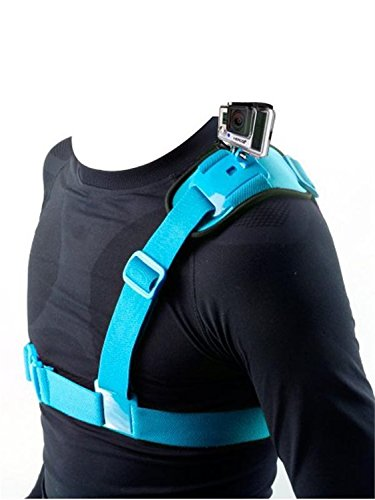 Fnkaf Colorful Shoulder Strap With Elastic Fibre And Polycarbonate Buckle For Sports Camera Blue