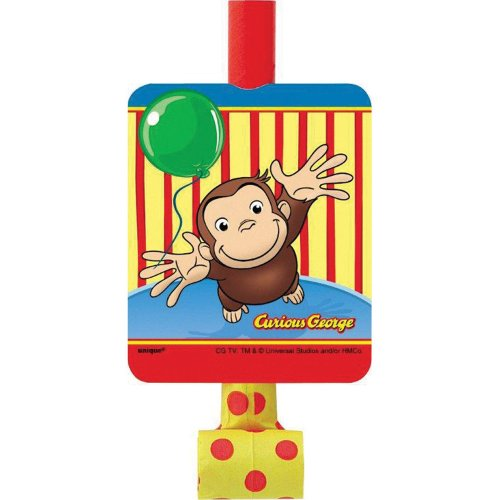 Curious George Blowouts - Birthday and Theme Party Supplies - 8 Per Pack