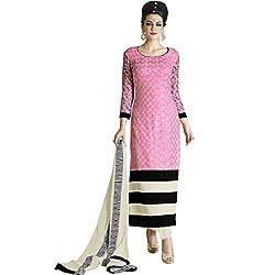 Vasu Saree Haute Pink Georgette Straight Pakistani Salwar Suit