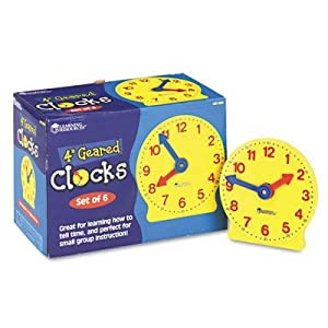 Learning Resources LER2202 Set of Six Four-Inch Geared Learning Clocks, for Grades Pre-K to 4