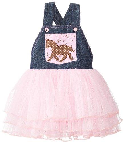 Mud Pie Baby-Girls Newborn Cowgirl Overall Tutu Dress, Pink, 6-9 Months