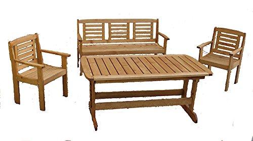 "Massivholz Garten Sitzgruppe ""Lonus-1"" , Kiefer , Holzfarbe Nuss , Holzdicke : 28 cm , Set : Gartenbank , 2 Sessel , Massivholztisch . jetzt kaufen"