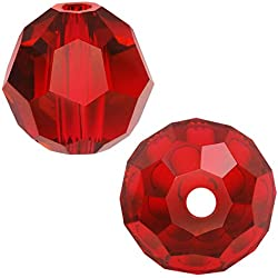 "SWAROVSKI ELEMENTS Crystal #5000 4mm Round Beads ""Light Siam"" Red (12)"