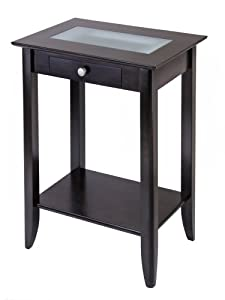 Winsome Wood Syrah Accent Table with Forsted Glass, Shelf by Winsome Wood