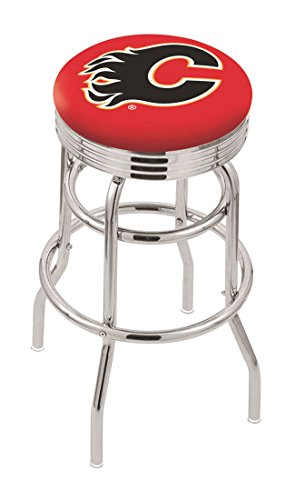"""25"""""""" L7C3C - Chrome Double Ring Calgary Flames Swivel Bar Stool with 2.5"""""""" Ribbed Accent Ring-By BlueTECH"""