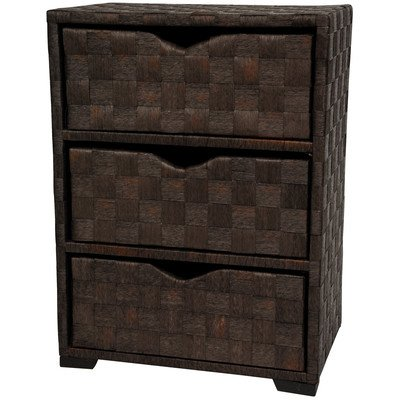 Oriental Furniture Warm Earth Tone Chocolate Dark Color Rattan Look, 25-Inch 3 Drawer Natural Fiber Nightstand End Table Small Storage Chest, Mocha