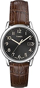 Timex Men's Quartz Watch with Black Dial Analogue Display and Brown Leather Strap T2N948