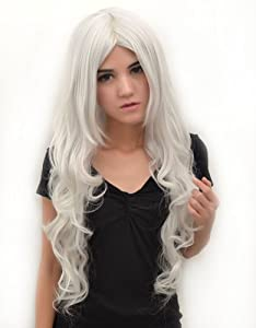 SureWells Vocaloid Series Silver White Long Curly Cosplay Wig Costume Wigs