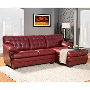 Homelegance Brooks Sectional In Red Leather