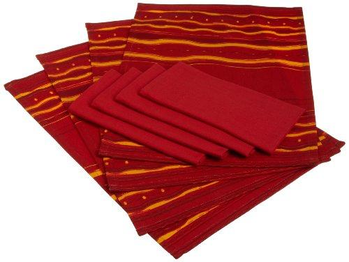 DII Hacienda Tabletop Bonita Raja Print Placemat and Ribbon Red Basics Cloth Napkin