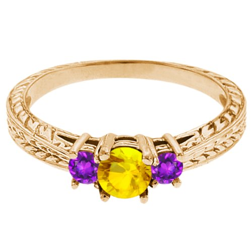 0.56 Ct Round Yellow Sapphire Purple Amethyst 14K Yellow Gold 3-Stone Ring