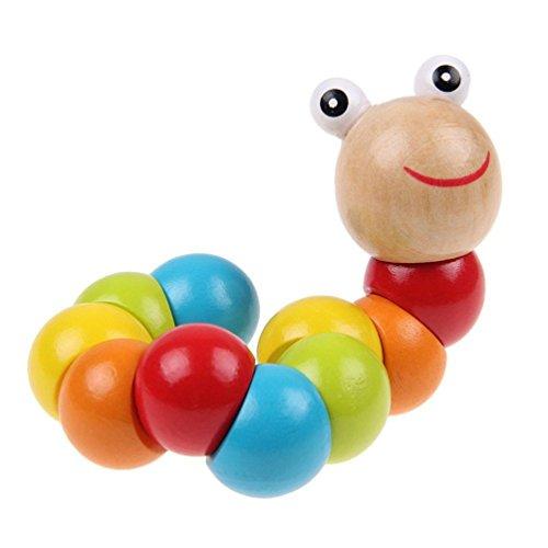 3QMart くねくね いもむしくん 木製 知育 玩具 木のおもちゃ 自由に 曲がる 伸びる カラフル かわいい トイ プレゼント 誕生日 お祝い ギフト 出産 指先 発育 [並行輸入品]