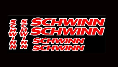 SCHWINN BIKE FRAME (6) Vinyl Stickers/Decals
