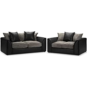 Byron 3 + 2 Seater Sofa Suite - Jumbo Cord Slate And Rhino Black - 3 Seater Sofa and 2 Seater Sofa - Fabric and Leather - Fire Retardant by WorldStores