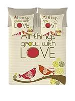 Valentina Juego De Funda Nórdica All Things Grow With Love (Amarillo Claro/Gris)
