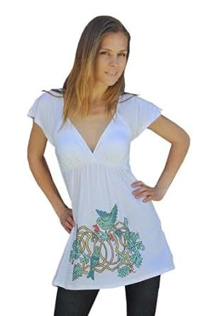 White Cotton Ladies Tunic /Top / Blouse (XS)