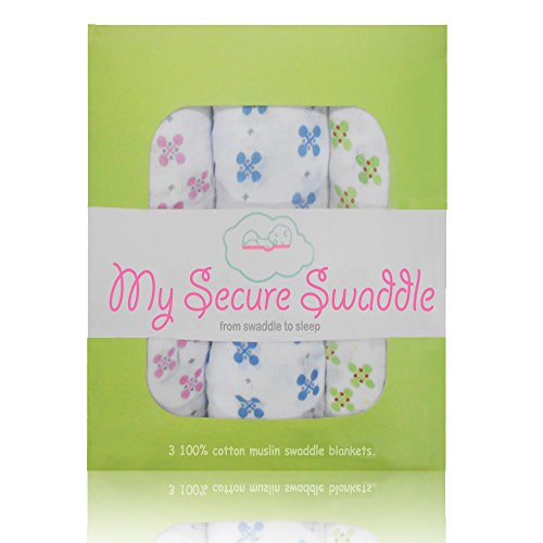 My Secure Swaddle Blanket, 100% Muslin Baby Blankets. 3-Pack