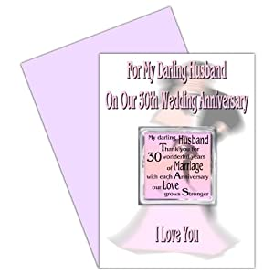 Husband 30th Wedding Anniversary Card With Removable Magnet Gift - 30 ...