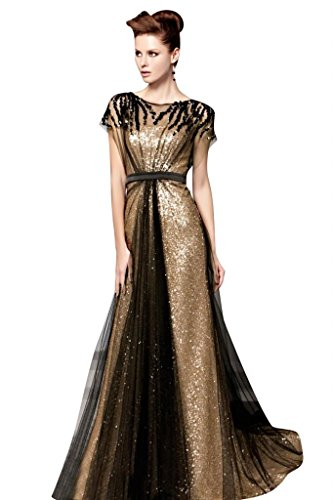 Mollybridal Women's Tulle Sequin Pleat Evening Dress With Sleeve