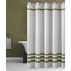 bleecker hotel shower curtain in white spa green