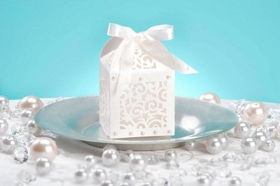DARICE DT1404-29 David Tutera Laser Cut Favor Box with Ribbon Tie, Cream, 12 Per Pack