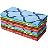 Cotton Craft Napkins - Moroccan Tile - 12 Pack Oversized Dinner Napkins - Multipack - 100% Super Soft Premium Cotton - Tailored with a generous hem - Napkins measure 20 inches by 20 inches - Our Napkins are 38% larger than standard size - Easy care machine wash