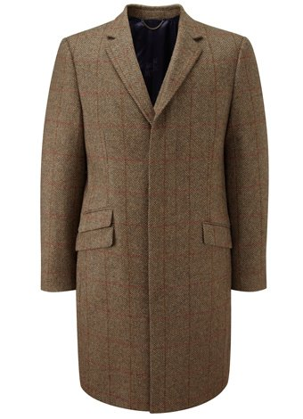 Austin Reed Green Herringbone Tweed Overcoat REGULAR MENS 38