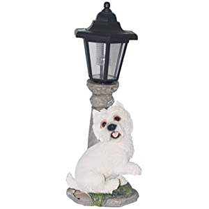 solar outdoor garden dog lamp westie