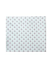 Pocket Square In White With Maroon Anchor Print