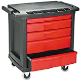 Rubbermaid FG773488 Black 5-Drawer Mobile Work Center